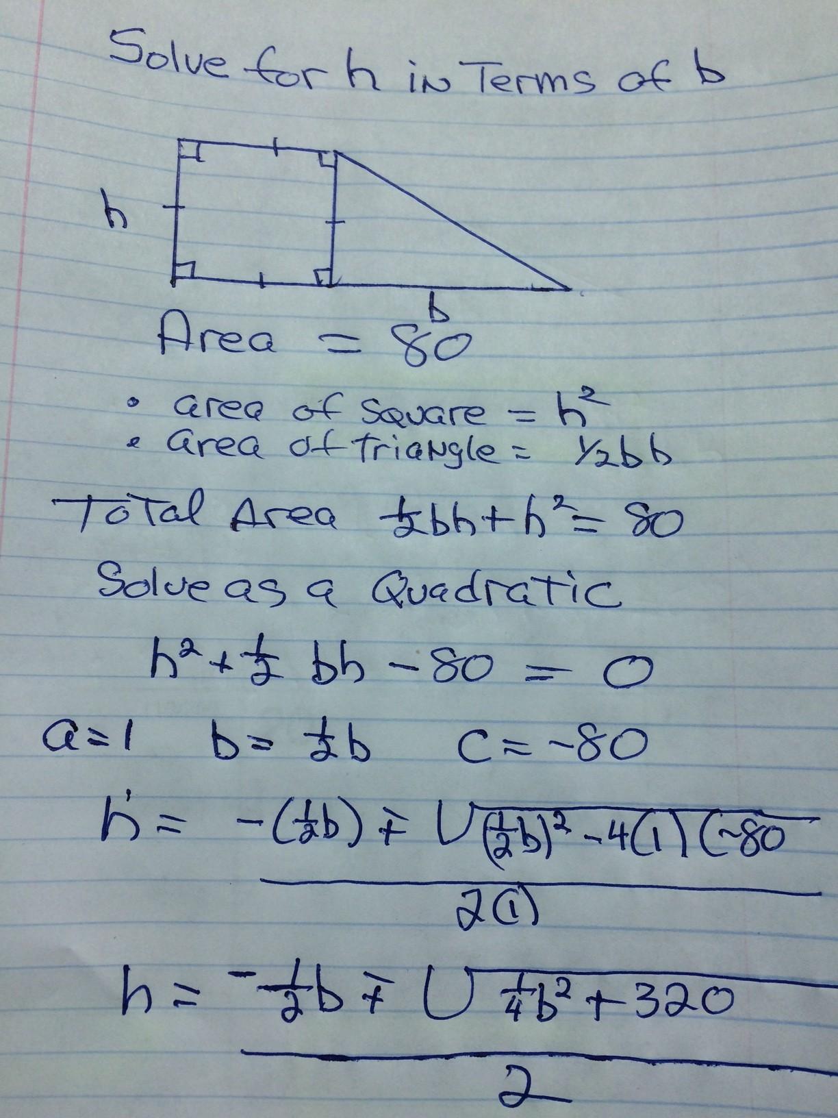 Algebra Geometry & Basic Math Tutoring Solving for h involves a ...